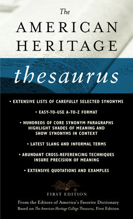 The American Heritage Thesaurus, First Edition by Houghton Mifflin Company