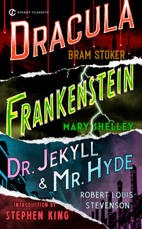 The cover of the book Frankenstein, Dracula, Dr. Jekyll and Mr. Hyde