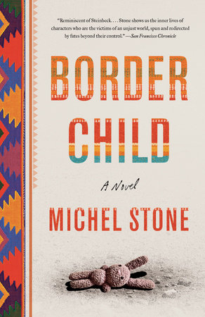 Border Child by Michel Stone, featuring an image of a child's toy bunny lying on the ground