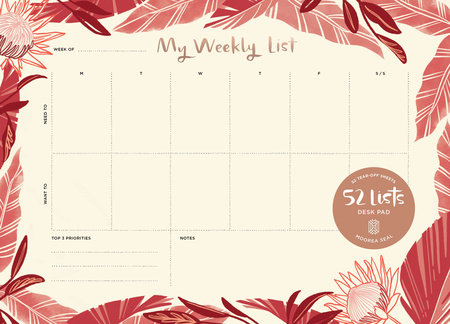 "52 Lists ""My Weekly List"" Desk Pad by Moorea Seal"
